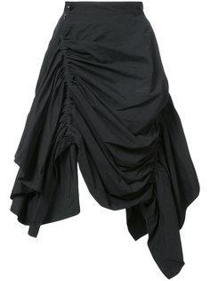 асимметричная юбка со сборками Yohji Yamamoto