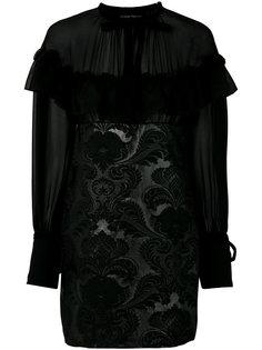 платье мини с цветочной отделкой  Christian Pellizzari