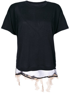 футболка с кружевной деталью Sacai