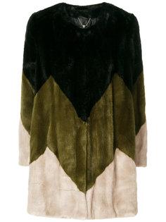 контрастное меховое пальто Twin-Set