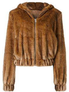 куртка-бомбер из меха с капюшоном Helmut Lang