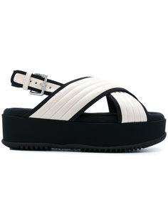 стеганые атласные сандалии Marni