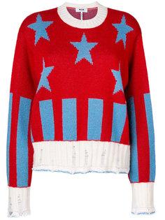 пуловер в рубчик со звездным узором  MSGM