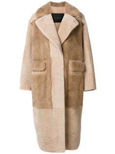 однобортное пальто с меховой отделкой Blancha