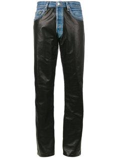 джинсы-бойфренды с кожаными панелями Beau Souci