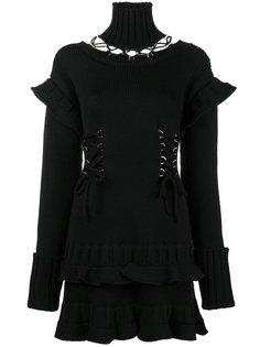 трикотажное платье со шнуровкой и вырезами  Alexander McQueen