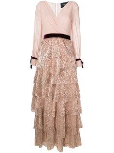 платье с многоярусной юбкой с пайетками Christian Pellizzari