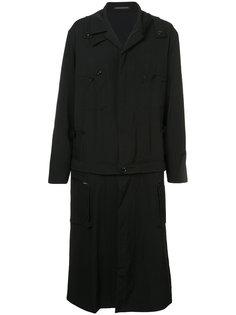 длинное пальто со съемным низом Yohji Yamamoto