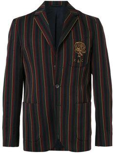 полосатый пиджак с вышитым логотипом Kent & Curwen