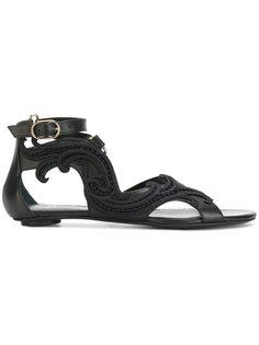 сандалии с вышитой деталью Baroque Versace