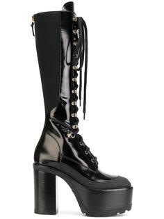 сапоги со шнуровкой на платформе Versace