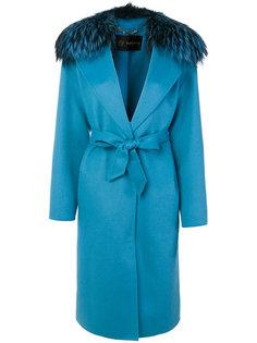 пальто с отделкой из лисьего меха Versace