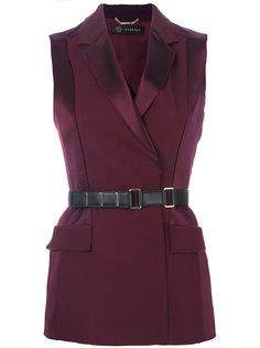 жилет с контрастным ремнем на талии Versace