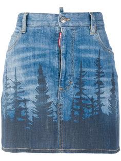 короткая джинсовая юбка с принтом Forest Dsquared2