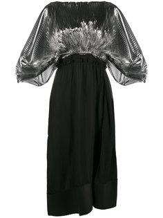 платье со вставками и плиссировкой  Loewe