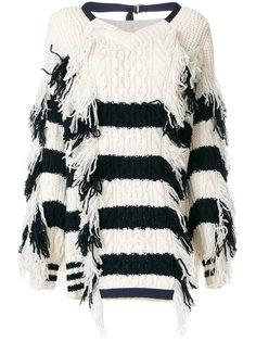 свитер в полоску с бахромой Sacai