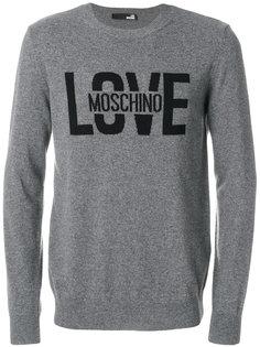джемпер вязки интарсия с логотипом  Love Moschino
