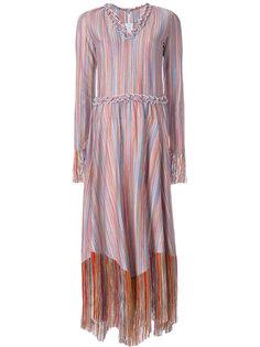 платье в полоску с бахромой  Marco De Vincenzo