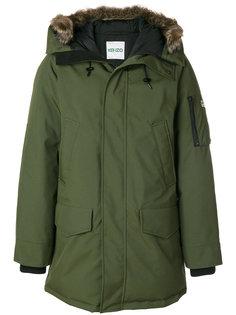 пуховое пальто с оторочкой из меха Kenzo