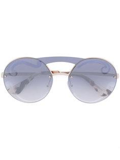 массивные солнцезащитные очки без оправы Prada Eyewear