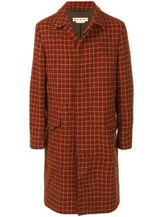 твидовое пальто с узором в ломаную клетку Marni