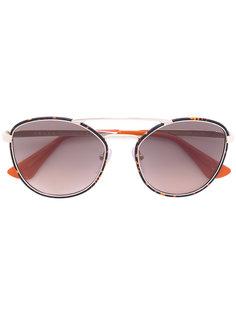 массивные круглые солнцезащитные очки Prada Eyewear