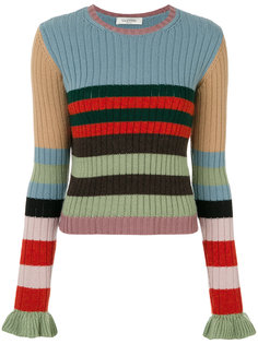 свитер в рубчик с оборками на манжетах  Valentino