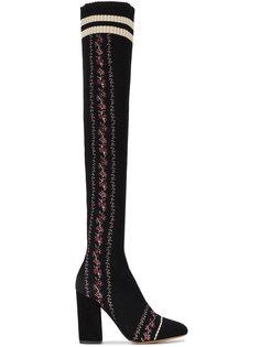 сапоги по колено с трикотажной вставкой и вышивкой Irina Tabitha Simmons