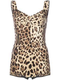 боди с леопардовым принтом Dolce & Gabbana