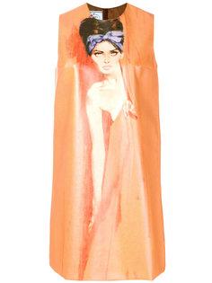 платье-шифт с принтом Prada