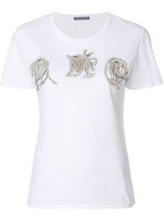 футболка с вышитыми аппликациями Alexander McQueen