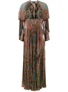 плиссированное платье с длинными рукавами с принтом Etro