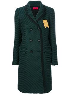 двубортное пальто с отделкой в рубчик  The Gigi