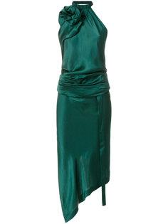 асимметричное атласное платье халтер  Saint Laurent
