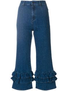 укороченные джинсы с оборками  Vivetta
