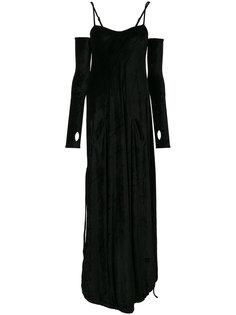 бархатное платье с перчатками  Andrea Yaaqov