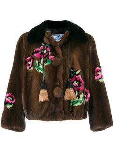норковая куртка с цветочным рисунком Prada