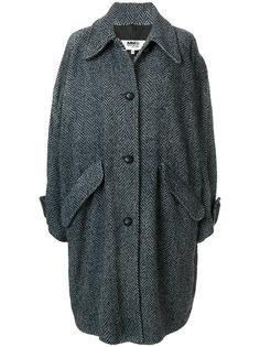 вязаное пальто с узором елочкой Mm6 Maison Margiela