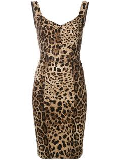 облегающее платье с леопардовым принтом  Dolce & Gabbana