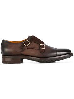 туфли-монки с золотистыми пряжками Santoni