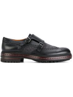 туфли-монки с контрастной подошвой Santoni