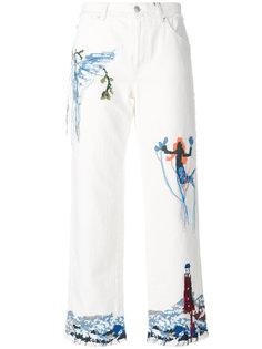 укороченные джинсы с вышивкой Alexander McQueen