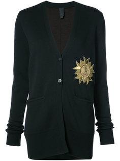 metallic patch V-neck cardigan Vera Wang