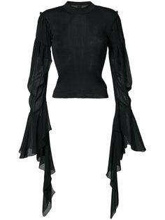 draped sheer sleeves jumper Vera Wang