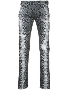 джинсы кроя скинни с эффектом змеиной кожи Balmain