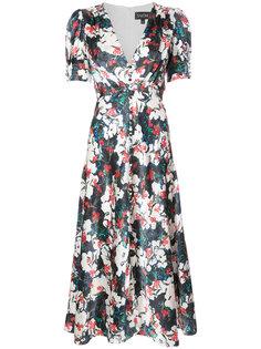 платье с цветочной вышивкой Saloni