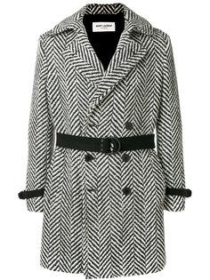 приталенное двубортное пальто Saint Laurent