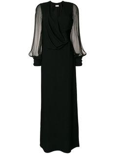 длинное платье с полупрозрачными рукавами Lanvin
