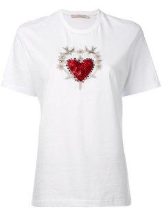 футболка с нашивкой в виде сердца и ласточек  Amen Amen.