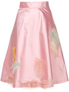 юбка с завышенной талией с перьями Miu Miu